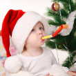 Santa boy in Santa hat — Stock Photo