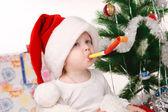 Santa boy in Santa hat — Stock Photo