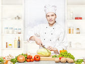 Female chef preparing meal — Stock Photo