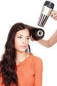 Combing and dry the hair — Stock Photo