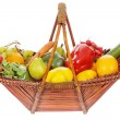 Basket with fruits and vegetables — Stock Photo