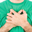 Both man's hands on breast because of hard breathing — Stock Photo