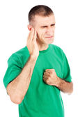 Man feeling pain in ear — Stock Photo