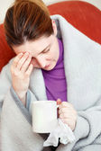 Sick woman having headache — Stock Photo