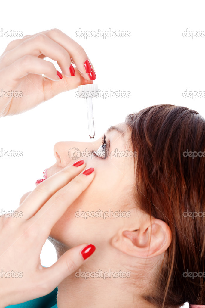 Woman putting drops in eye, isolated on white — Stock Photo #8435724