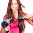 Постер, плакат: Woman blow dryer and comb