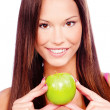 Woman with green apple — Stock Photo #8605677