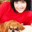 Girl and her dog — Stock Photo