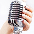 Big retro microphone in woman's hand — Stock Photo
