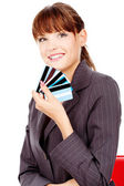 Happy woman with credit cards — Stock Photo