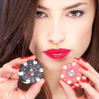 Woman and gambling chips - ストック写真
