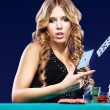 Woman give up in a card gambling match - Foto Stock