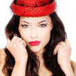 Girl with red hat — Stock Photo