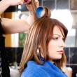 Stock Photo: Hairdresser putting rollers on hair