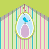 Spring card with egg and bird — Stock Vector