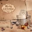 Vintage Christmas Illustration with grungy layered old papers. - Imagen vectorial