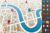 City map with GPS Icons. — Vettoriale Stock