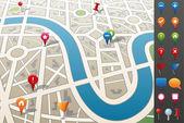 Stadtplan mit gps-ikonen. — Stockvektor