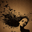 Portrait of Woman with birds flying from her hair. - Stock Vector