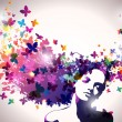 Portrait of Woman with butterflies flying from her hair. — Stock Vector