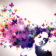 Portrait of Woman with butterflies flying from her hair. — Imagens vectoriais em stock