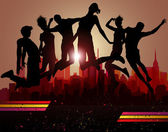 Jumps over city. Party background, — Vector de stock
