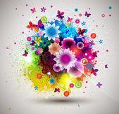 Grunge floral boeket. — Stockvector