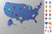 USA Map with GPS Icons. — Vector de stock