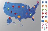 Usa karta med gps ikoner. — Stockvektor