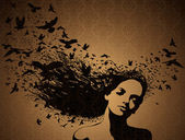 Portrait of Woman with birds flying from her hair. — Vector de stock