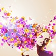 Spring background with young woman. — Stockvector