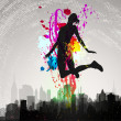 Girl jumping over city. - Stock Vector
