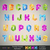 Alphabet coloré branché, basé sur la géométrie fractale. — Vecteur