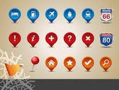 Conjunto de ícones de gps e mapa. — Vetorial Stock