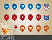 Gps und karte-icon-set. — Stockvektor