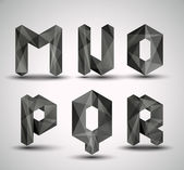 Alfabeto geometrici frattali nero alla moda. — Vettoriale Stock