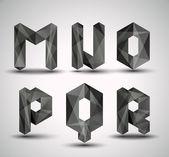 Trendige schwarze fraktale geometrische alphabet. — Stockvektor