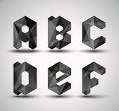 Modny czarny fraktal geometrycznej alfabet. — Wektor stockowy