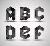 Trendy Black Fractal Geometric Alphabet. — Stock vektor
