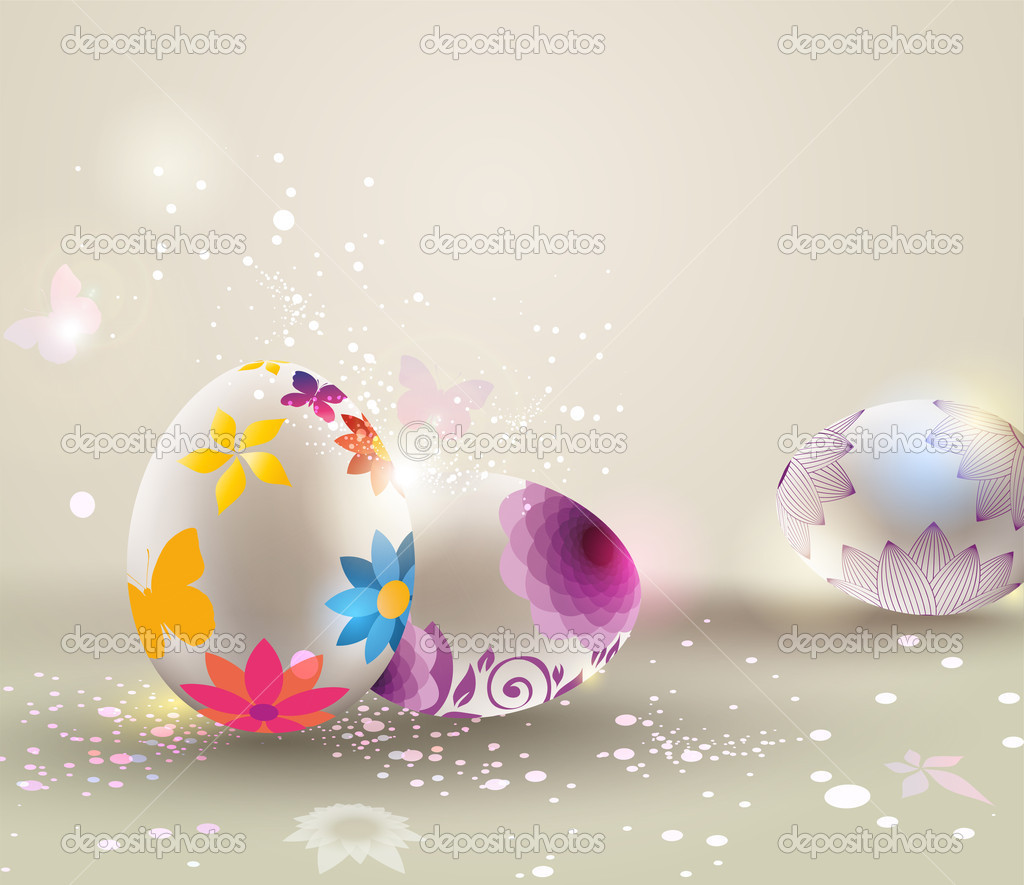 Floral decorated Easter eggs over light background.   Stock Vector #9471377