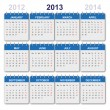 Vector de stock : Calendar 2013 with US-Holidays