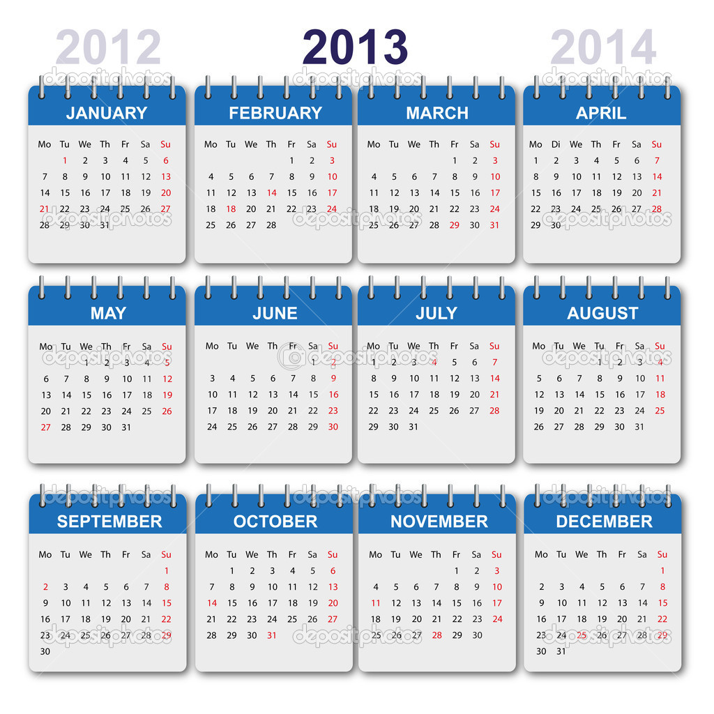 Calendar for the year 2013. USA version holidays and observances included — Stock Vector #10121298