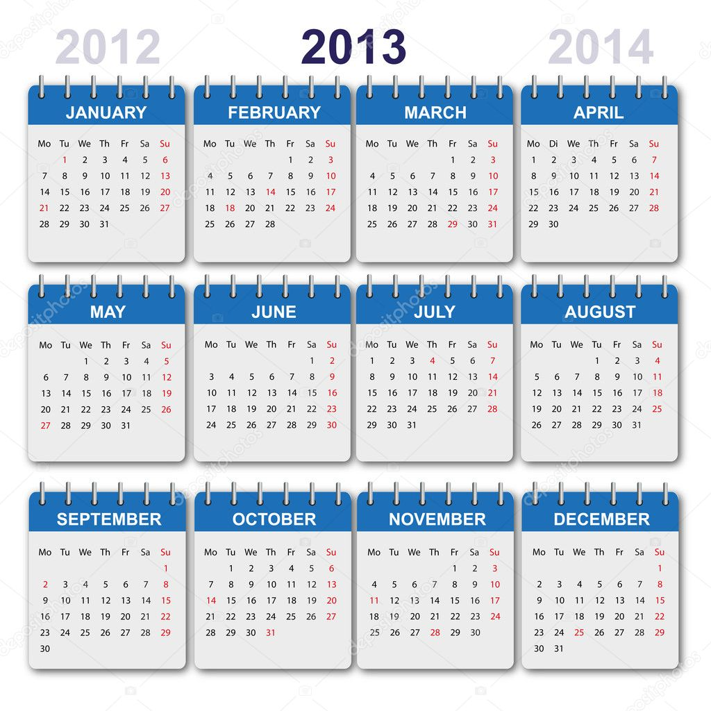 Calendar 2013 with US-Holidays - Stock Illustration
