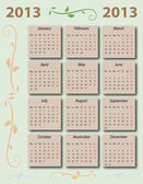 Calendar 2013 with US-Holidays — Vettoriale Stock