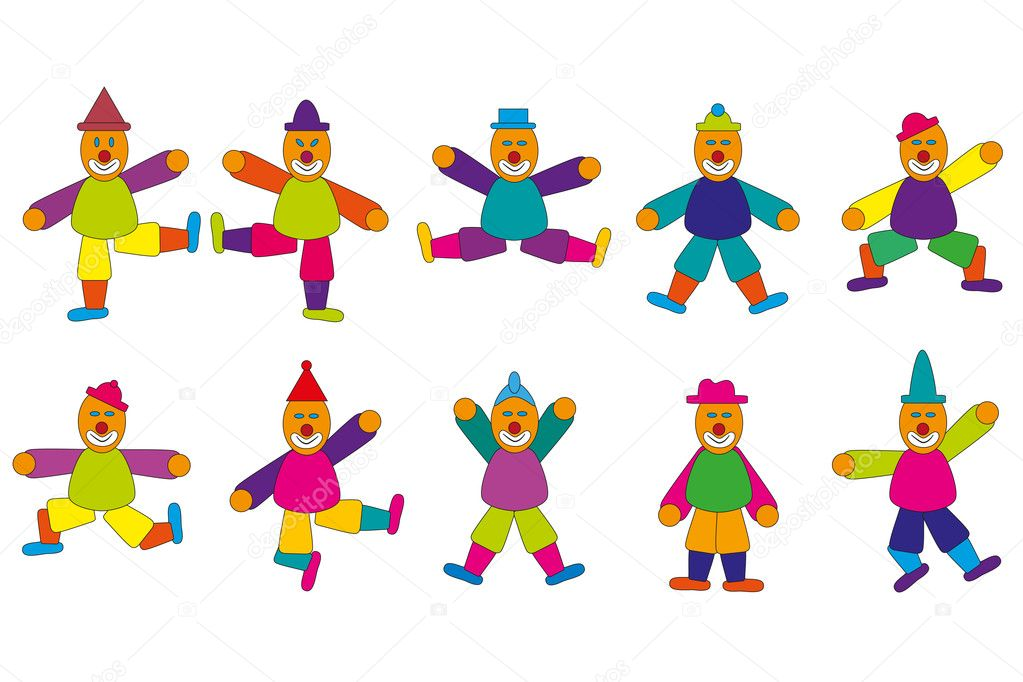 Jumping Jacks Cartoon Different Jumping Jack Figures