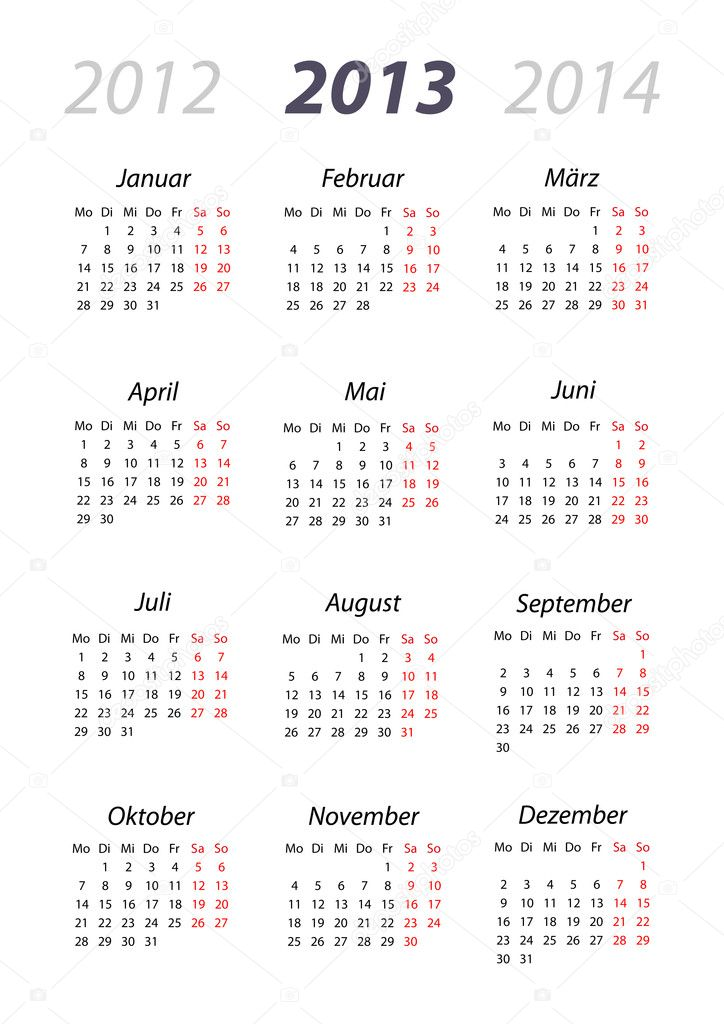kalender 2013 din format stock vector emeritus2010 10661518. Black Bedroom Furniture Sets. Home Design Ideas