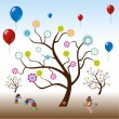 Funny tree with balloons - Stock Vector