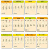Kalender 2013, internationale — Stockvector