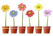 Bunte Blumen mit Topf — Stock Vector