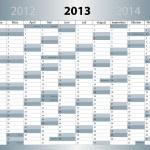 Kalender 2013, deutsch, DIN-Format, mit Feiertagen — Stock Vector